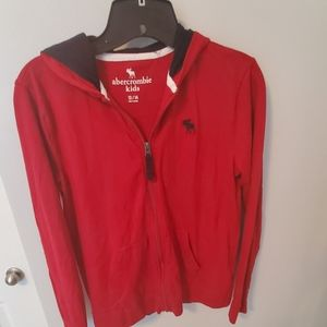 Boys Size 13/14 Abercrombie kids red zip hoodie